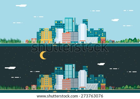 day and night urban landscape