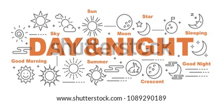 day and night vector banner design concept, flat style with icons