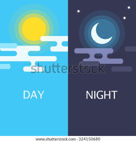 day and night vector flat