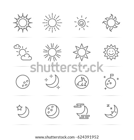 day and night vector line icons, minimal pictogram design, editable stroke for any resolution, sun and moon