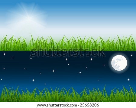 day and night vector scene on the fresh meadow. No mesh used
