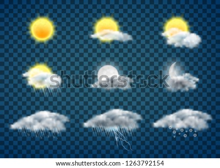 Day and night weather forecast app realistic vector icons set isolated on transparent background. Sun and moon in clouds, rainy, stormy and snowy weather, meteorology calendar pictogram collection