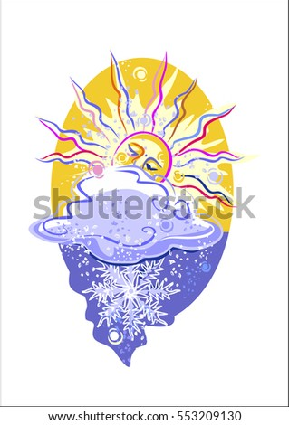 day, blizzard, clouds, icon weather, overcast, snow, vector graphics, Easter egg sticker, postcard
