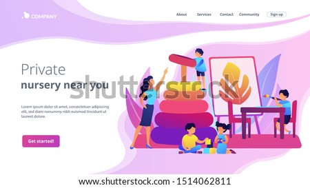 Day care center, kindergarten pupils and tutor. Primary education. Nursery school, high quality preschool program, private nursery near you concept. Website homepage landing web page template.