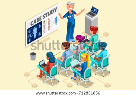 Day hospital group of doctors and nurses group vector cartoon characters clinical team in medical meeting. 3D nurse Isometric hero people flat design images.