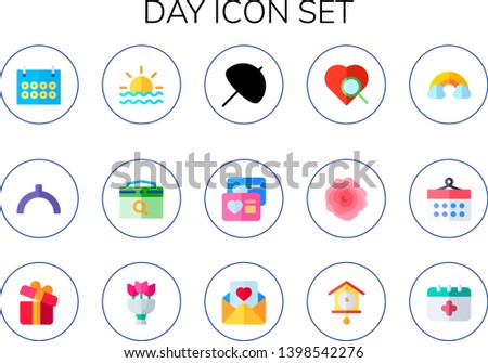 day icon set 15 flat day icons