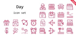 day icon set. line icon style. day related icons such as calendar, alarm clock, woman, wedding gift, clover, tax, bow, clock, heart, cupid, wedding car, beach, love letter, rose, class,
