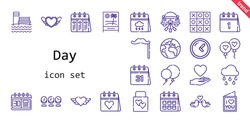day icon set. line icon style. day related icons such as calendar, love, balloon, balloons, wedding gift, raining, clock, heart, mustache, wedding car, planet earth, love birds, tic tac toe, beach