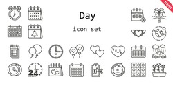 day icon set. line icon style. day related icons such as calendar, rain, balloon, balloons, broken heart, clock, heart, environment, tulips, 24 hours, price, tic tac toe, beach, time, valentines day,