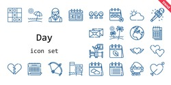 day icon set. line icon style. day related icons such as calendar, woman, broken heart, wake up, bow, clock, heart, cupid, journalist, cloudy, teacher, beach, earth, tic tac toe, love letter,