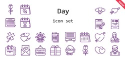 day icon set. line icon style. day related icons such as calendar, woman, just married, balloons, clover, heart, journalist, cupid, teacher, ferris wheel, beach, hearts, love letter, rose, present,