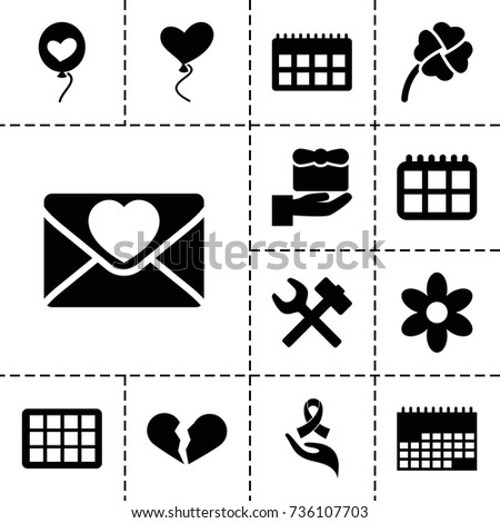 day icon set of 13 filled day