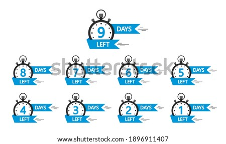 Day left countdown banners. Go time of sale. Countdown of days left offer from 10 to 1. Badges and stickers for special limited offer. Set of promotion design template. Labels for discount. Vector. Stock foto ©