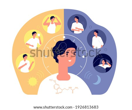 Day night rhythm. Natural sleep, schedule day night. Melatonin sleeping people, morning evening activity. Healthy life balance cycle utter vector concept Foto stock ©