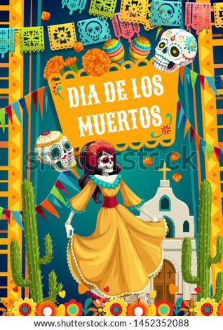 Day of Dead, Dia de los Muertos fiesta, catrina calavera woman in Mexican costume dress dancing at church. Vector Day of Dead, Mexico party celebration, pecked paper flags and Mexican pattern skulls