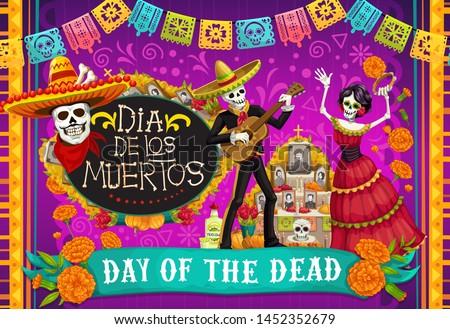Day of Dead, Dia de los Muertos fiesta, skeleton in Mexican costumes and sombrero, play music and dance. Vector Dia de Los Muertos altar with marigold flowers and calavera skull