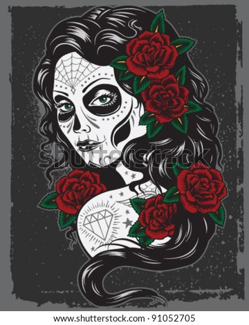 day of dead girl illustration