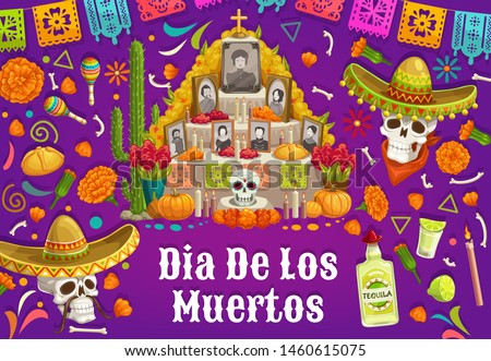 Day of Dead in Mexico, altar with photos of gone people. Vector Dia de los Muertos Mexican national holiday, skulls in sombrero hat, tequila and maracas. Food and drinks, cactus and burning candle