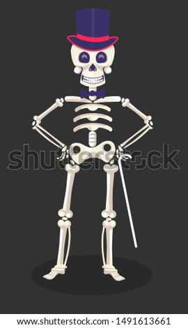 Day of Dead, Mexican skeleton in tall hat with cane, Dia de Los Muertos vector. Holiday symbol, skull and bones in headdress with gentlemans accessory. Mexico culture event, party celebration