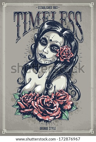 day of dead sexy girl with