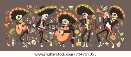 Shutterstock Day Of Dead Traditional Mexican Halloween Dia De Los Muertos Holiday Party Decoration Banner Invitation Flat Vector Illustration