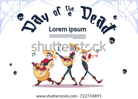 Spanish music banner free vector download free vector art stock day of dead traditional mexican halloween holiday party decoration banner invitation skeleton play guitar flat vector stopboris Images