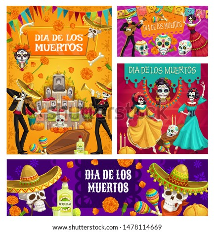 Day of Dead vector sugar skulls, mariachi skeletons and Catrina Calavera, Mexican Dia de los Muertos altar, sombreros and marigold flowers, flag garland, bread and candles. Religion holiday design