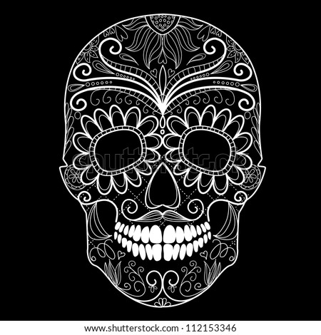 Day Of The Dead Black And White Skull Stock Vector