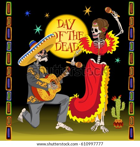 day of the dead card dancing