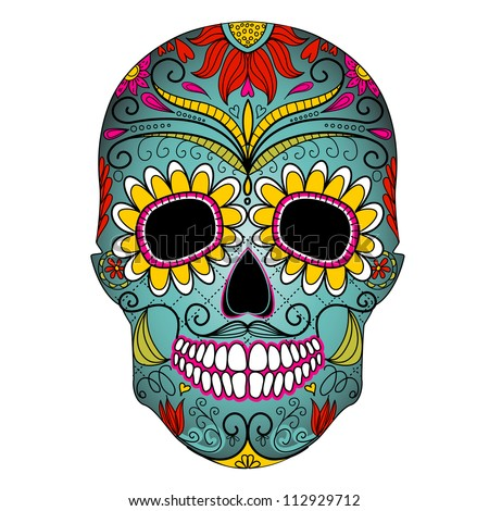 Day of The Dead colorful Skull with floral ornament