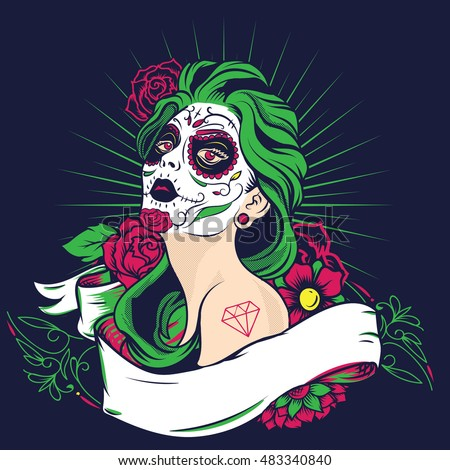 Stock Photo Day of The Dead colorful sugar skull girl with floral ornament and flower