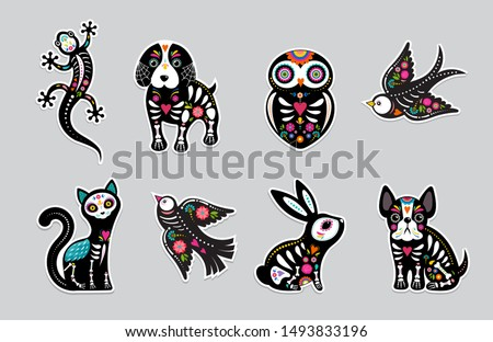 Day of the dead, Dia de los moertos, animals skulls and skeleton decorated with colorful Mexican elements and flowers. Fiesta, Halloween, holiday poster, party flyer. Vector illustration