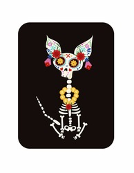 Day of the Dead, Dia de los muertos, a cat skeleton decorated with colorful Mexican elements and flowers. Fiesta, Halloween, holiday poster, party. Vector illustration