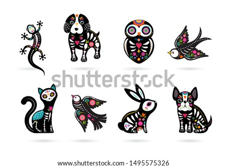 Day of the dead, Dia de los muertos, animals skulls and skeleton decorated with colorful Mexican elements and flowers. Fiesta, Halloween, holiday poster, party flyer. Vector illustration stock photo