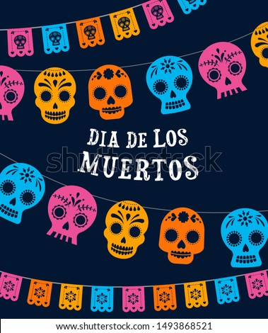 Day of the dead, Dia de los muertos, banner with colorful Mexican flowers. Fiesta, holiday poster, party flyer, funny greeting card Foto stock ©
