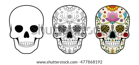 Shutterstock Day of the Dead (Dia de los Muertos) Sugar Skull set. Includes empty form and drawing to colour. Isolated vector design.