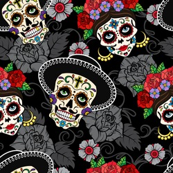 Day of the dead. Festive seamless vector pattern with male and female sugar skulls on dark background.