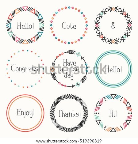 Day of the Dead frame set. Tribal hand drawn line mexican ethnic pattern. Border. Print. Doodles. Handmade native vector illustration. Aztec wreath. Collection for invitation, banner badges