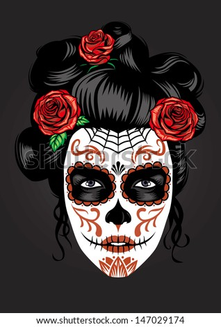 Stock Photo day of the dead girl make up
