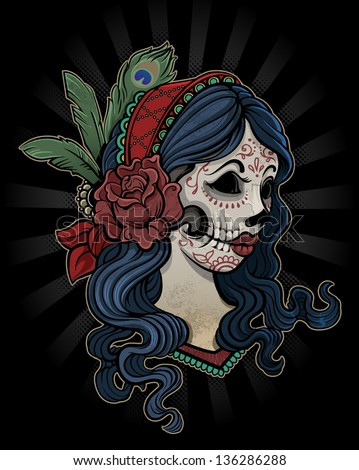 Day of the Dead Girl with Flower