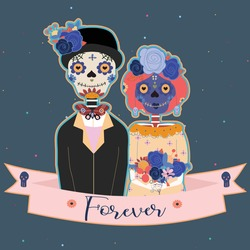 Day of the dead, Mexican holiday, f. Vector poster, banner and card with make up of sugar skull, woman and man.