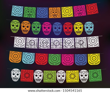 Day of the Dead. Papel Picado banners with paper flags Foto stock ©