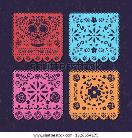 Day of the dead papercut banner set for traditional mexican holiday event. Papel picado art collection with skulls and flowers.