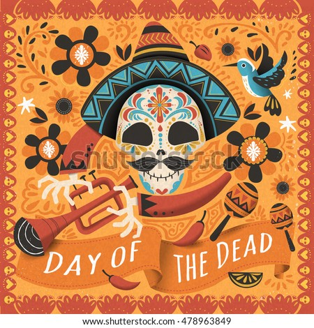 Shutterstock Day of the dead poster, Mexican sugar skull with instrument
