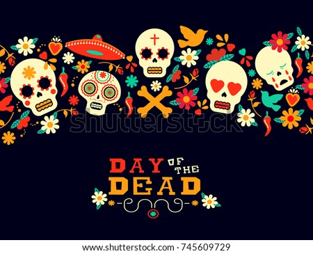 Day of the dead seamless pattern art, mexican holiday celebration background with typography quote. Includes floral spring decoration, mariachi hat and sugar skull emoji. EPS10 vector.
