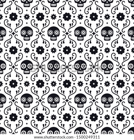 Day of the dead seamless pattern with skulls and flowers on white background. Traditional mexican Halloween design for Dia De Los Muertos holiday party. Ornament from Mexico.
