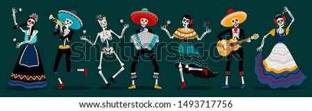 Day of the dead skeletons party. White sugar skull skeleton characters, dancing and music playing dead mexican ancestors vector illustration