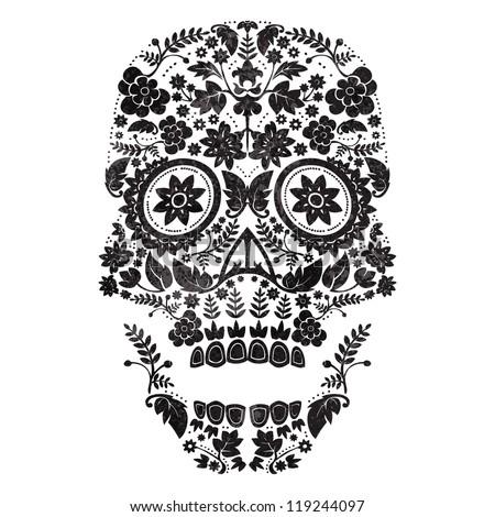 day of the dead skull - stock vector