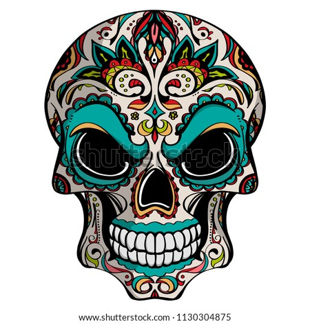 Day of The Dead, skull with floral ornament