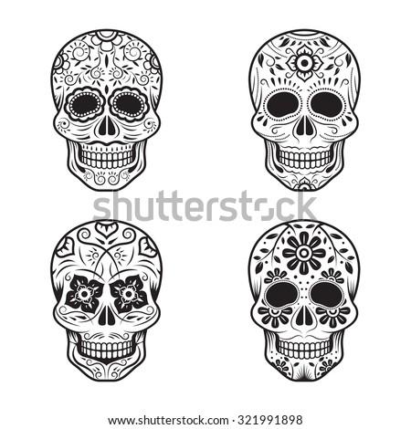 day of the dead skulls  black